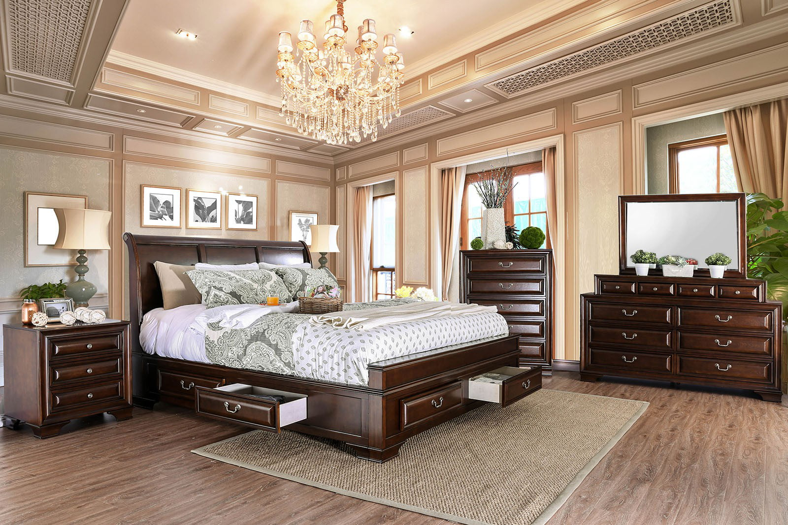 brown cherry bedroom furniture 4pc set eastern king size