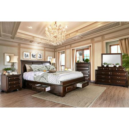 Brown Cherry Bedroom Furniture 4pc Set Queen Size Bed ...