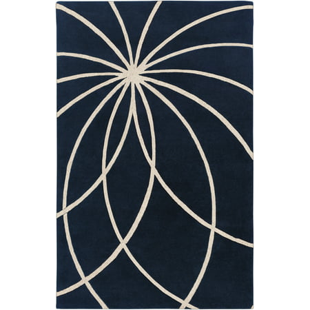 2' x 3' Plasma Elektra Antique White & Dark Blue Hand Woven Wool Area Throw Rug