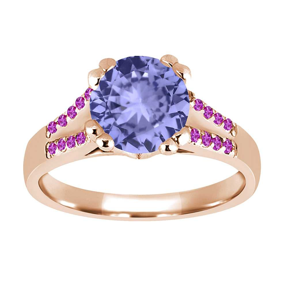 1.10 Ct Round Blue Tanzanite Pink Sapphire 18K Rose Gold Ring by