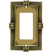 Frankin Brass Pineapple Single Decorator / GFCI Wall Plate, Tumbled Antique Brass