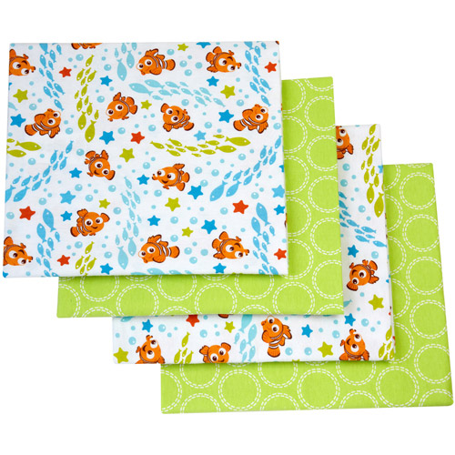 Disney Nemo Day at Sea Flannel Blanket, 4-Pack