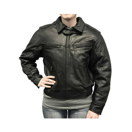 Redline Women's Bomber Naked Cowhide Leather Motorcycle Jacket, Black L-30