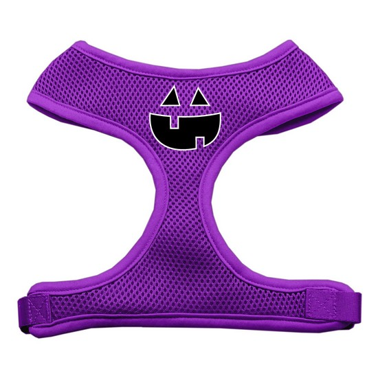 Pumpkin Face Design Soft Mesh Harnesses Purple Extra Large