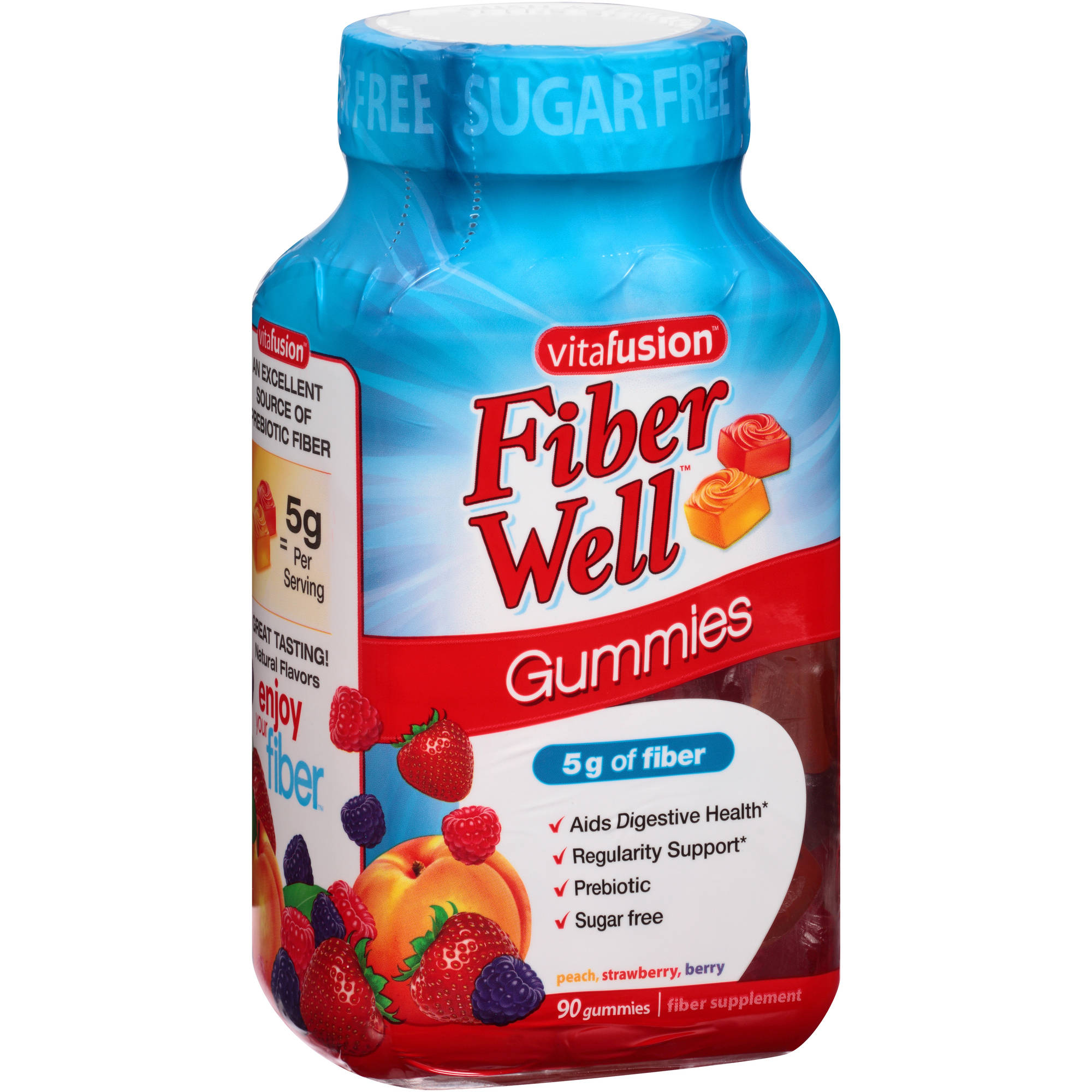 Vitafusion Fiber Well Gummies Prebiotic Fiber Supplement, 90 count