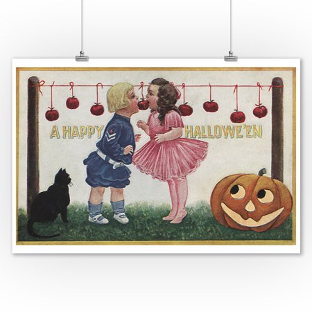Halloween Greeting - Apples on String (9x12 Art Print, Wall Decor Travel Poster)](Happy Halloween Apples)