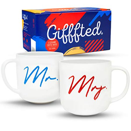 Gifffted Mr and Mrs Coffee Mugs Set, Funny His and Hers Couple Wedding Year Anniversary Gifts, Engagement Gift Ideas For Couples Unique, Friends, Husband Wife Mom Dad, Parents Presents Day, 2 Cups