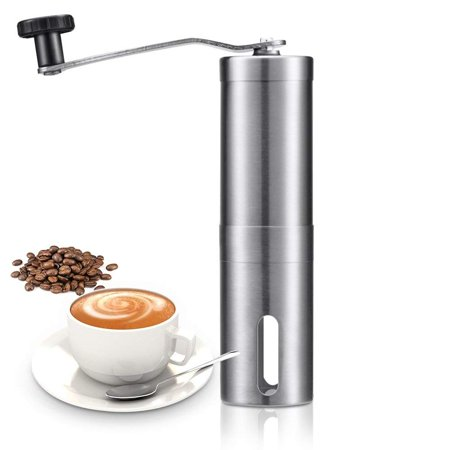 GLiving Manual Coffee Grinder,Conical Burr Mill With Adjustable Setting, Portable Hand Crank Coffee Grinder For Travel, Brushed Stainless Steel, Best For Espresso, French Press, Cold & Turkish