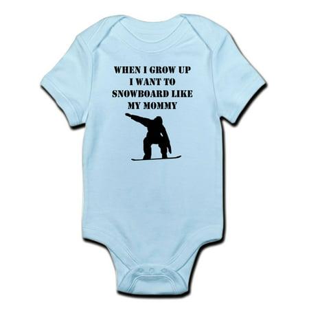 CafePress - Snowboard Like My Mommy Body Suit - Baby Light