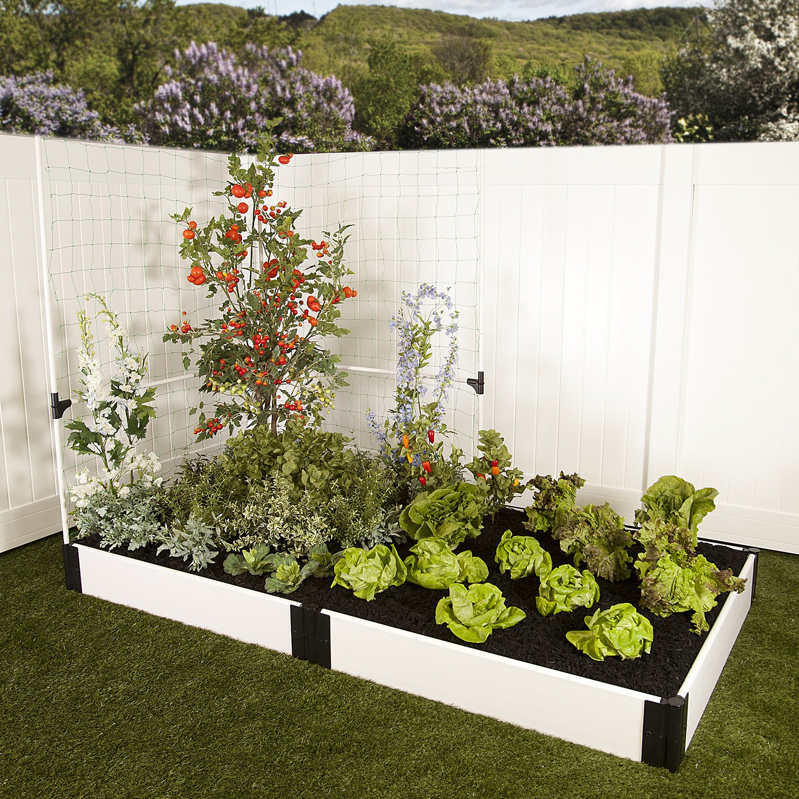 Frame It All White Composite Raised Garden Bed Kit with Veggie Wall - 4ft. x 8ft. x 8in.