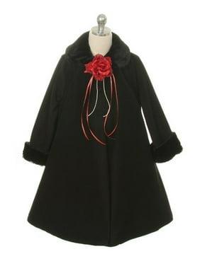 Black Fleece Faux Fur Collar Cuff Stylish Coat Girls 8