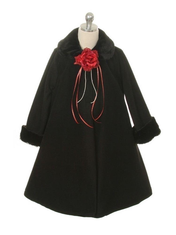 Kids Dream Black Fleece Faux Fur Collar Cuff Stylish Coat Girls 8
