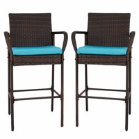 Kinbor Set of 2 Wicker Bar stools PE Rattan Patio Height Chair Furniture with Armrest