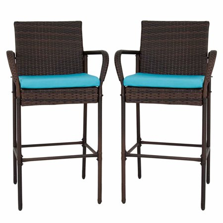 Kinbor Set of 2 Patio Outdoor Wicker Barstool Set Pool Furniture High Chair Brown w/Free Blue Cushions ()
