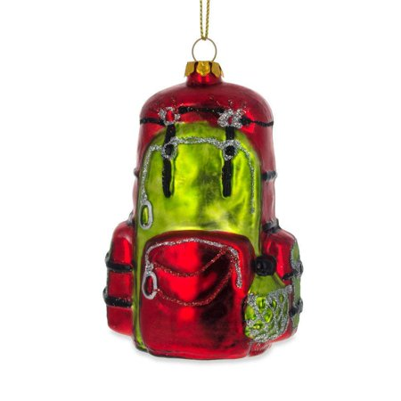 Hiking/ Camping Travel Backpack Blown Glass Christmas Ornament 3.5 Inches](Camping Ornaments)