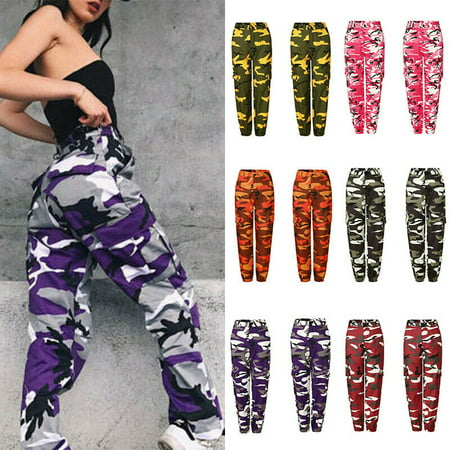 Women Sweatpants Camouflage Joggers Pants 3 Colors Stitching Hip Hop Pants High Waist Loose Streetwear Women Trousers ()