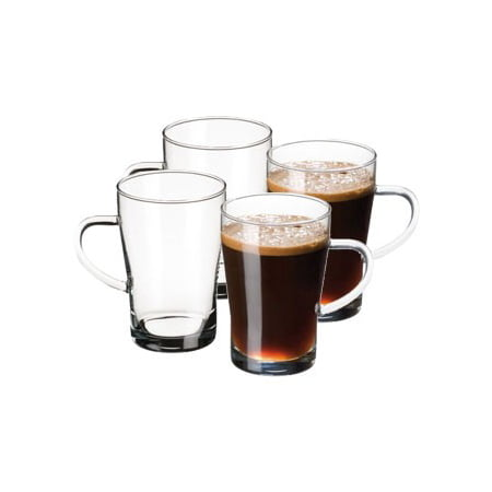Simax Glassware Clear Glass Coffee Mug Set | Cold, Heat, and Shock Resistant Borosilicate Glass, Microwave and Dishwasher Safe, Includes Four (4) 10 Ounce Cups ()