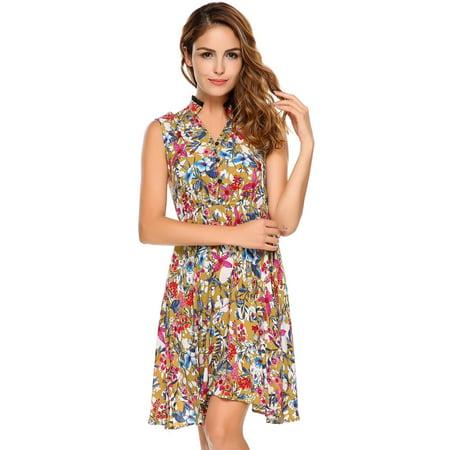 Women Dress Sleeveless Vintage Lace Patchwork O Neck Bohemian Tunic Dress Caroj - image 3 de 8