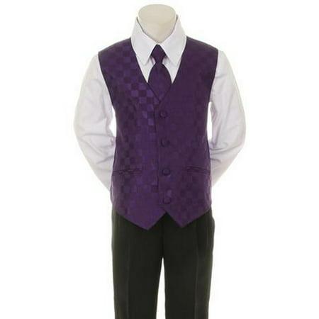 Kids Dream Purple Checkered Vest Necktie Special Occasion Boys Suit 1 for $<!---->
