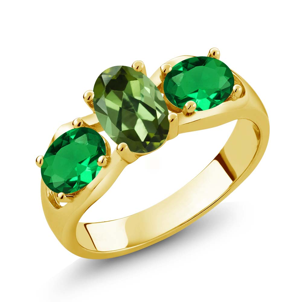 1.50 Ct Green Tourmaline Green Simulated Emerald 18K Yellow Gold Plated Silver Ring by