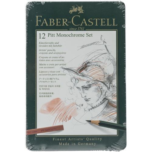 Faber-Castell - PITT Monochrome Set - 12-Piece Tin Set