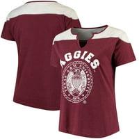 Texas A&M Aggies Women's Plus Size Notch Neck T-Shirt - Heathered Maroon