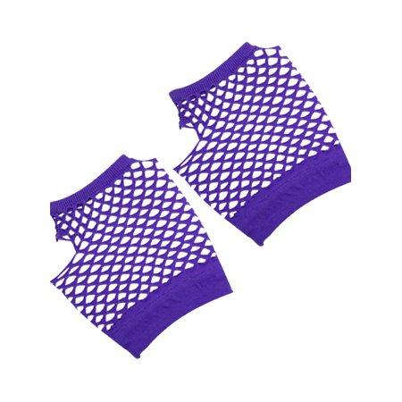 Unique Bargains Fish Net Elastic Short Gloves Fingerless Mittens Purple for Ladies 2PCS