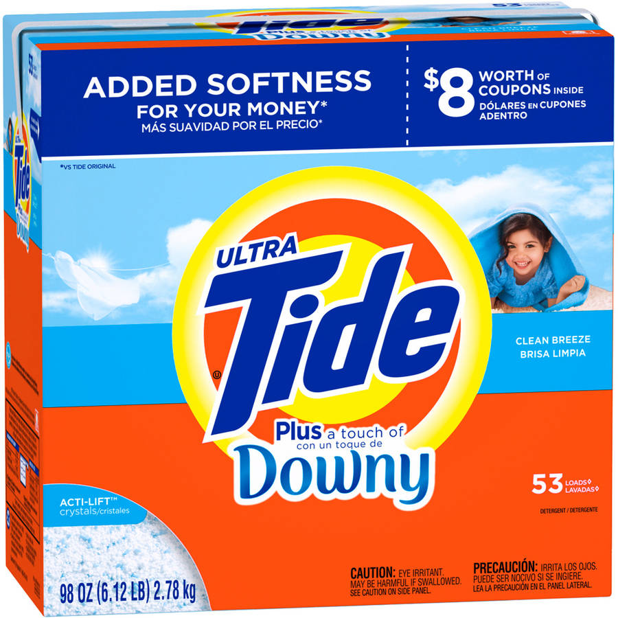Tide Ultra Plus a Touch of Downy Clean Breeze Scent Powder Laundry Detergent, 53 Loads, 98 oz
