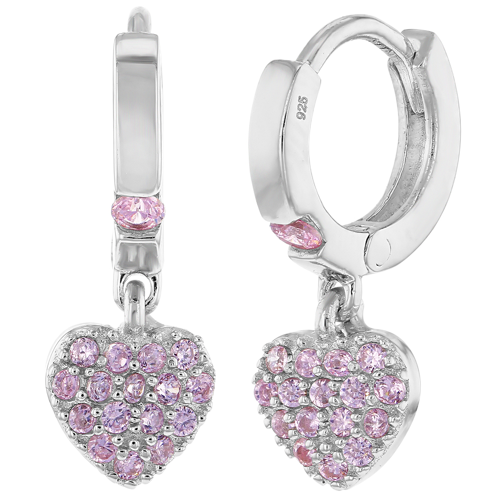 925 Sterling Silver Pink CZ Small Hoop Dangle Heart Baby Girl Kids Earrings