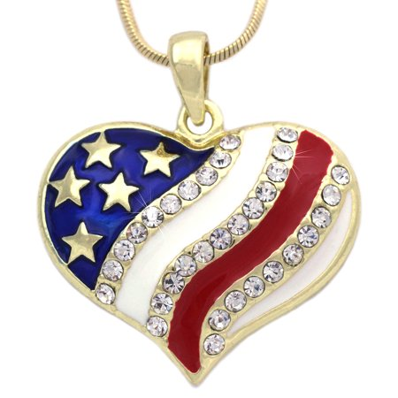 Usa Flag Pendant (cocojewelry 4th of July Patriotic USA American Flag Heart Pendant Necklace )