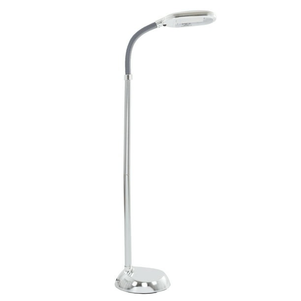 Lavish Home Full Spectrum Sunlight Task Floor Lamp With Adjustable Gooseneck Chrome Walmart Com Walmart Com