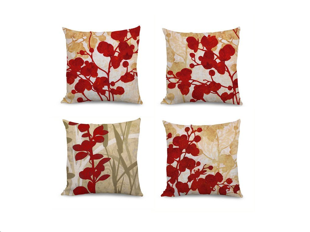 FabricMCC Set of 4 Red Flowers Pillow Covers Decorative Couch Throws Cases Cushion Covers... by qidoo LLC