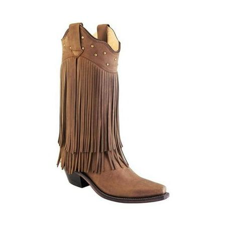 Women's Old West 12 Inch Snip Toe Fashion Wear Fringe Cowboy Boot ()