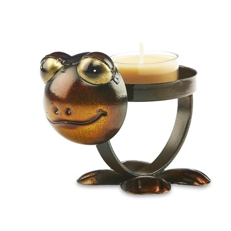 Pack of 4 Brown and Bronze Metal Rustic Chic Frog Decorative Tealight Candle Holder 4.5