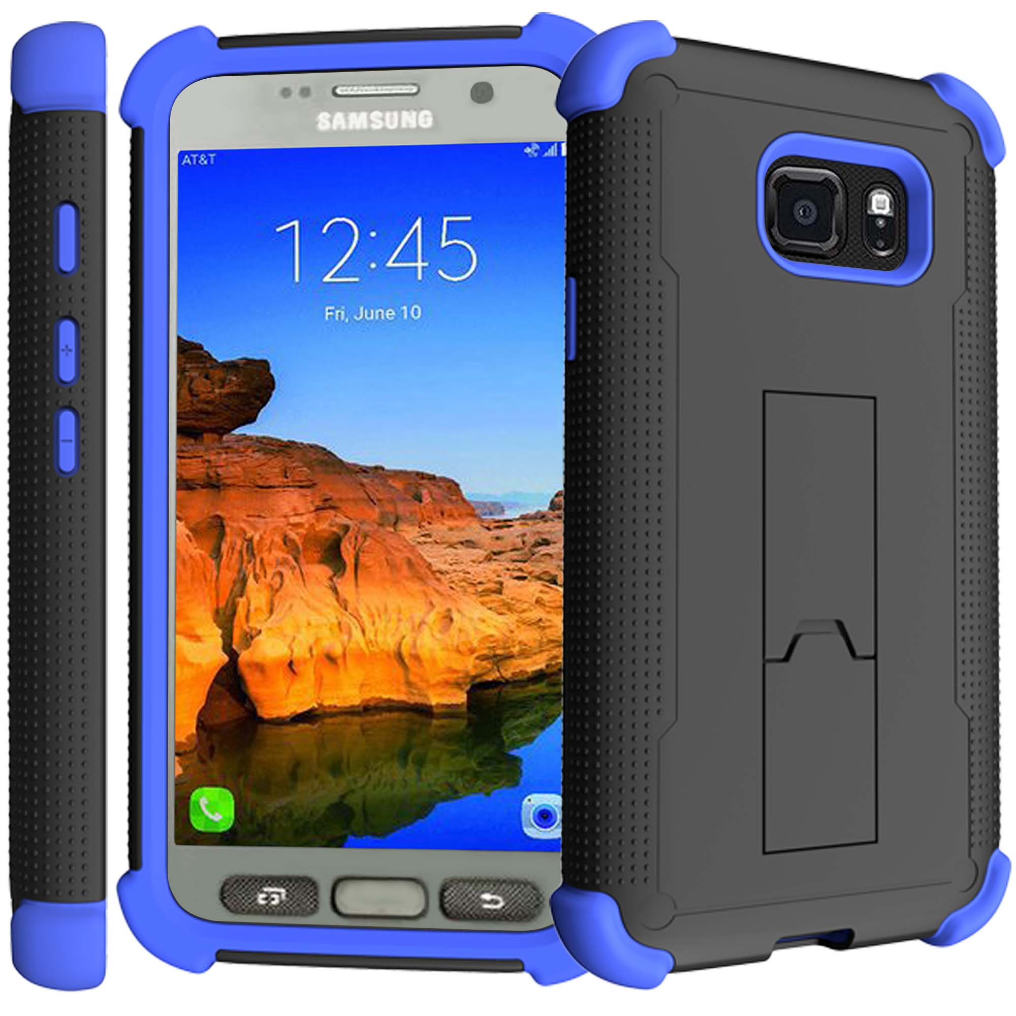 Samsung Galaxy S7 Case | S7 Blue Silicone Case [ShockWave Armor] High Impact Kickstand Case - Blue