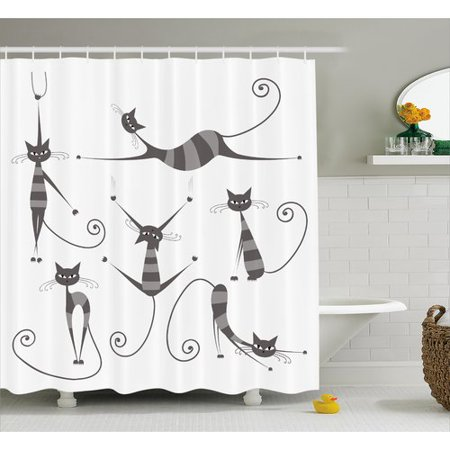 Ebern Designs Everly Funny Skinny Striped Cat Shower Curtain ...