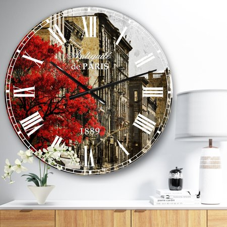 DESIGN ART Designart 'Red Tree on Black and White New York City Street' Floral Cityscapes Large Wall CLock