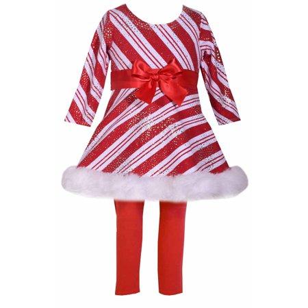 Girls Christmas Candy Cane Sparkle Stripe Tunic Set 10