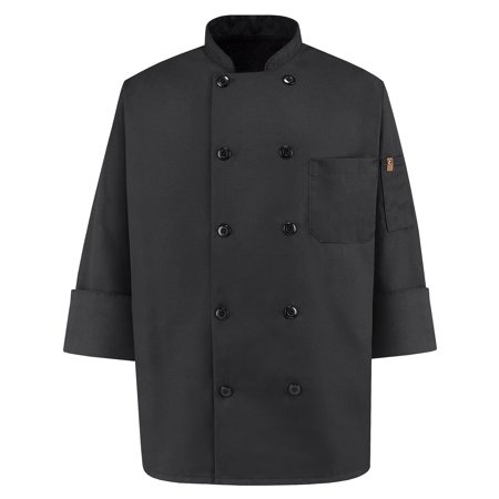 Men's Ten Pearl Button Spun Poly Black Chef Coat (Chefs Coat)
