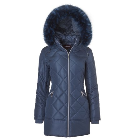 Sportoli Women's Long Down Alternative Puffer Coat Zip-Off Plush Lined Fur Trim Hood - Teal