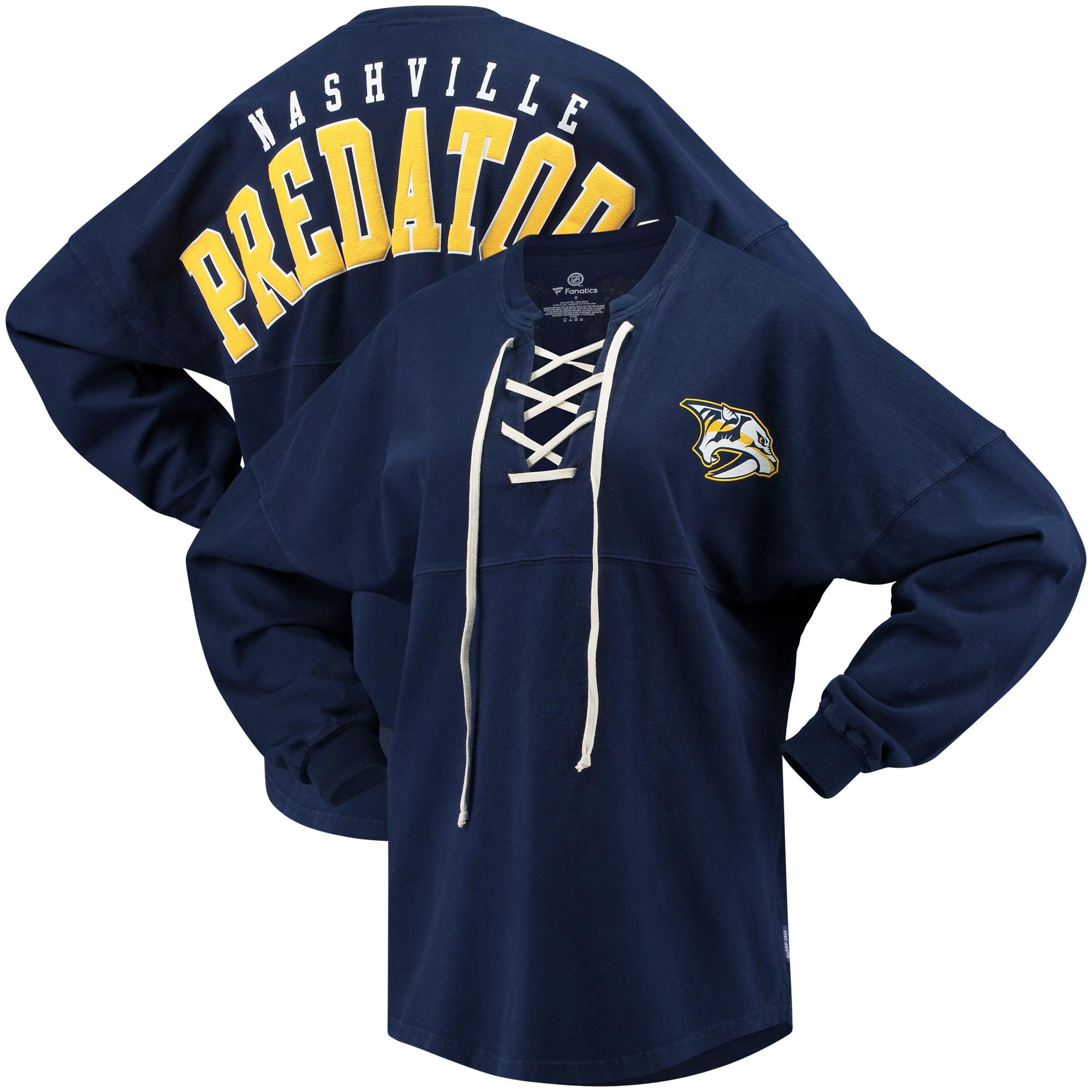 Nashville Predators Fanatics Branded Women's Lace Up Long Sleeve Spirit T-Shirt Navy by BoxSeat Clothing - SOURCED