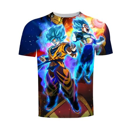 TURNTABLE LAB Men Print T-Shirt Goku Shouting T Shirt Goku Graphic Printed Top Anime Z Dragon Ball 3D Print Tee