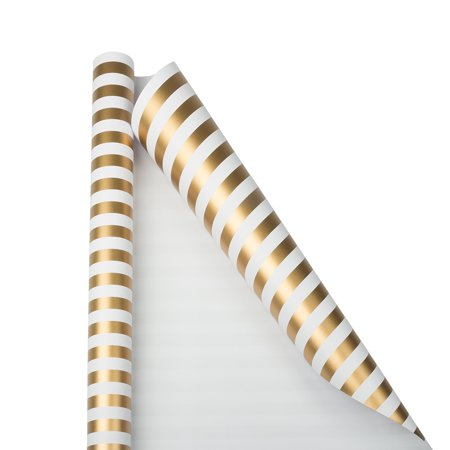 Gold Striped Paper (JAM Wrapping Paper, 25 Sq Ft, 1/Pack, Gold & White Stripe Gift)