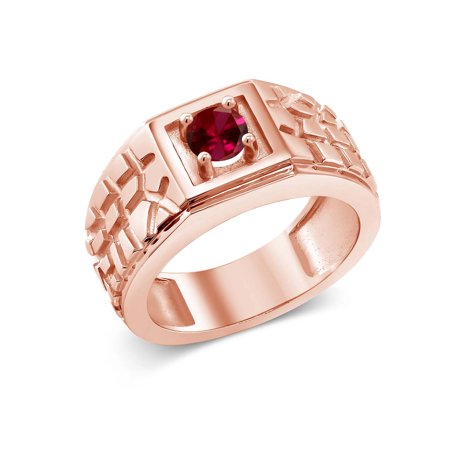 (0.60 Ct Red VS Created Ruby 18K Rose Gold Plated Silver Men's Solitaire Ring)