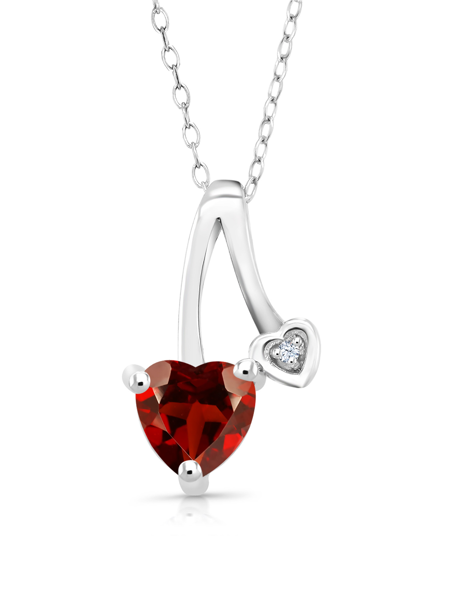 0.91 Ct Heart Shape Red Garnet White Created Sapphire 925 Silver Pendant by