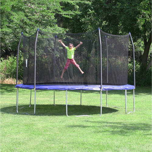 Skywalker Trampolines 16' Round Trampoline and Enclosure with Wind Stakes - Blue