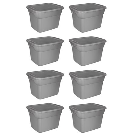 Sterilite, 18 Gal./68 L Tote Box, Steel, Case of 8 - Storage Tub