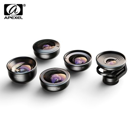 APEXEL APL-HD5V2 5in1 HD Mobile Phone Lens Set- 2X Telephoto Lens 195° Fisheye 110° Wide Angle 170° Super Wide Angle 10x Macro Lens for Huawei Pixel Xiaomi Dual Lens/Single Lens Smartphones (Single Wide Mobile Homes 2014)