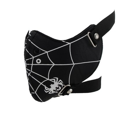Spider Web Black Vinyl Padded Half Face Mask