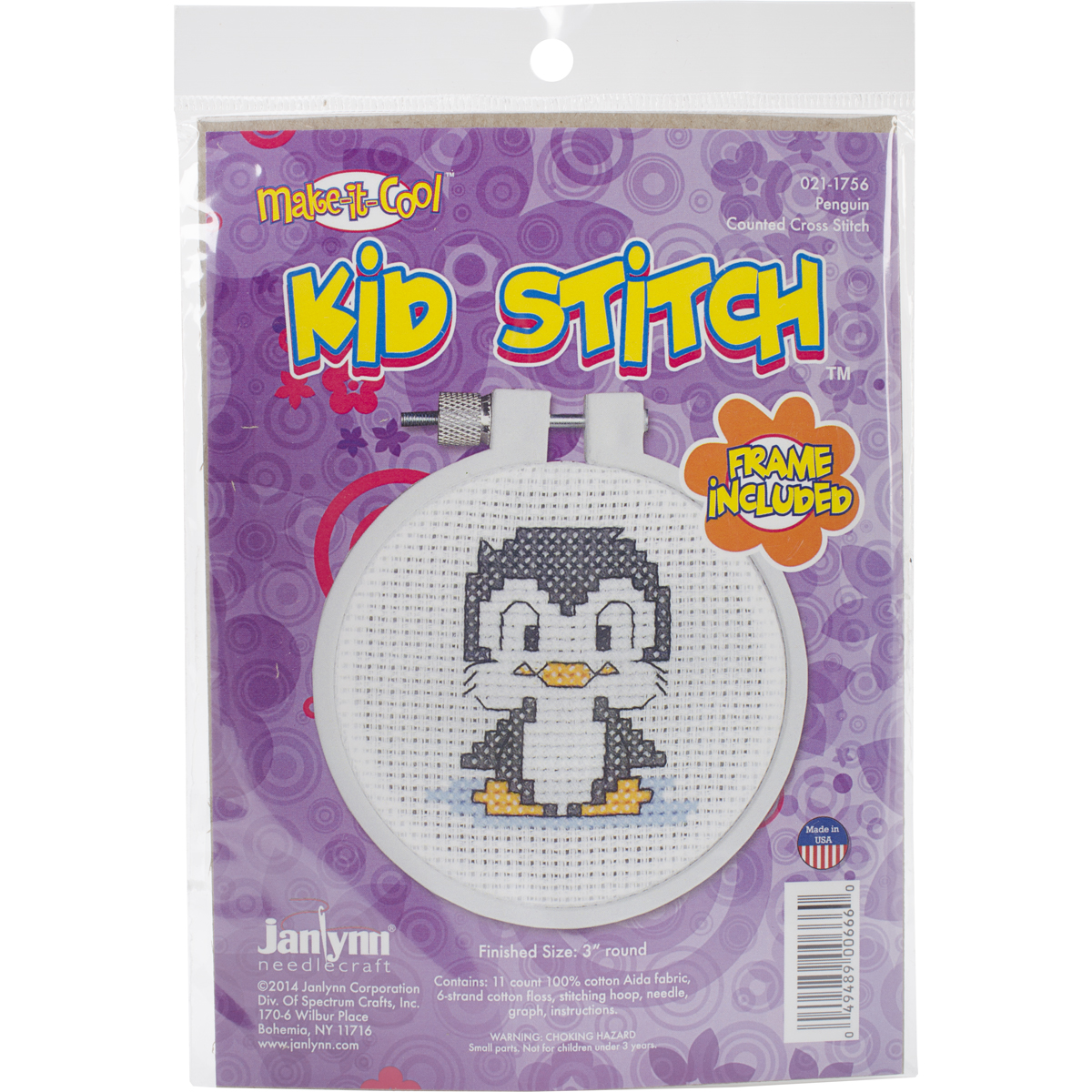 Janlynn Kid Stitch 11 Count Penguin Mini Counted Cross Stitch Kit, 3-Inch Multi-Colored